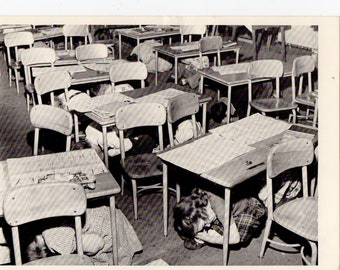 Vintage Students Taking Cover Postcard | Children, Schools, School, Drill, Disaster, Political, History, Post Card | Paper Ephemera |