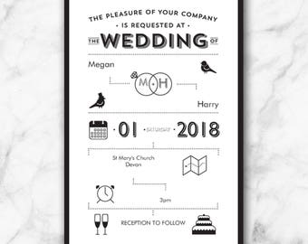 10 x Personalised & Printed Contemporary Modern Wedding/Party/Occasion Invitations/Cards With Envelopes Also Available as Digital Download