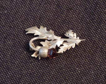 Silver thistle brooch