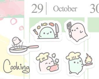 Cute Cooking Planner Sticker/ Cartoon Chef Planner Sticker/ Cook Planner Sticker/ Kitchen Planner Sticker/ Wacky Doodle Planner Sticker A087