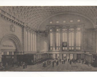 Old German postcard Leipzig Train Station Vintage German postcard