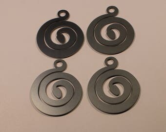 "4 Double Sided Steel Snake Pendants, 2"" in length & 1 5/8"" in width. DIY Crafts. Jewelry Supplies."
