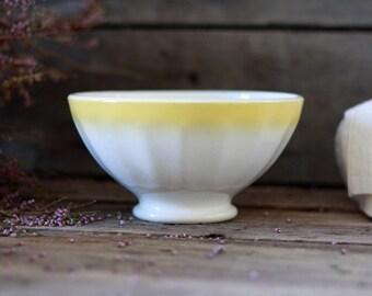 "French antique bowl. French bowl ""Café au lait"". Digoin Sarreguemines. Collector bowl. Faience bowl. Yellow bowl Digoin. Yellow stripes bowl"