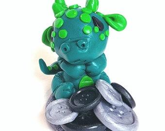 Newborn polymer clay dragon, button keeper, buttons, dragons, baby dragon