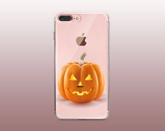 Pumpkin Clear TPU Phone Case for iPhone 8- iPhone 8 Plus - iPhone X - iPhone 7 Plus-iPhone 7-iPhone 6-iPhone 6S-Samsung S8