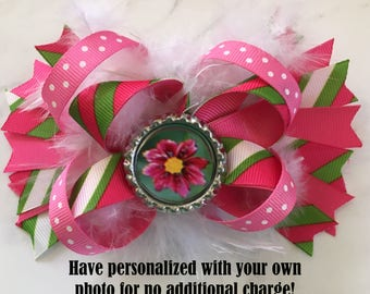 Personalized Photo Barrette, Personalized Hair Accessory, Custom Photo Barette, Pink Heart Bow, Personalized Bow, Custom Hair Bow, Pink Bow