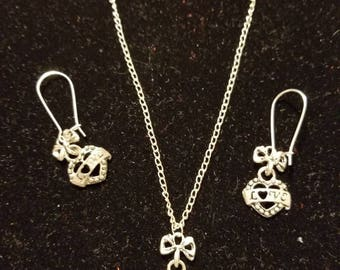 "Boutique...Order Now for Valentine... Silver Alloy Love Bow Charm Heart 18"" Silver Coated Necklace with Matching Earrings Set"