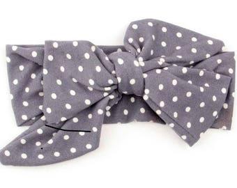 Grey polkadot headband
