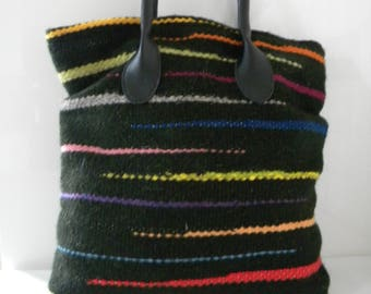 Hand woven tote bag. Woven bag Hand made Fully lined bag in 100% wools. Hand crafted woollen bag.