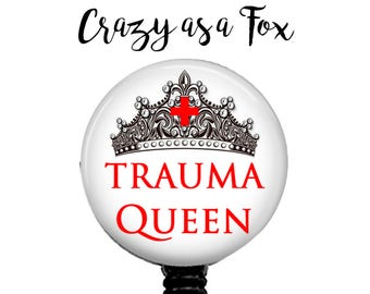 Trauma Queen Retractable Badge Holder, Badge Reel, Lanyard, Stethoscope ID Tag, ER Doctor, ER Nurse, Nurses Gift