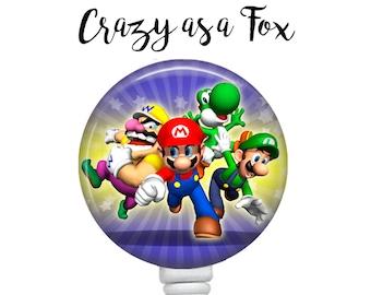 Super Mario Bros Retractable Badge Holder, Badge Reel, Lanyard, Stethoscope ID Tag, Nurse, RN, Doctor, Teacher, Nursing student gift