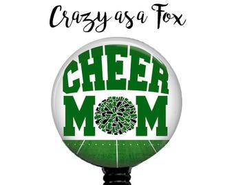 Cheer Mom Retractable Badge Holder, Badge Reel, Lanyard, Stethoscope ID Tag, Nurse, RN, Doctor, Teacher, md cna lpn rrt pa gift