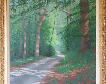 Road Through a Forest. Imagine a deliberate walk through the woods. Oil on canvas hand made.