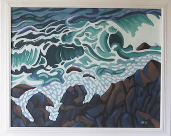 Wave. An aggressive wave hitting the cliffs. Oil on canvas hand made.
