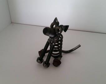 Scrap Metal Sitting Dog
