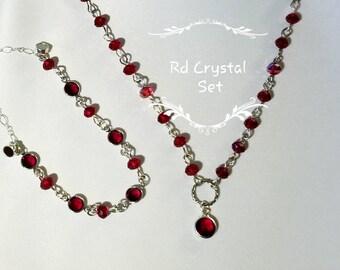 Red Crystal Necklace and Bracelet Set