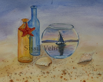 original watercolor, Reverie Navy, sea, beach, shell, boat, watercolor painting, sea shell, sailing boat, beach