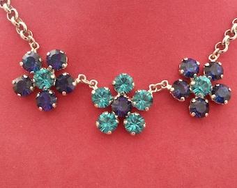Triple Flower Necklace - Heliotrope & Blue Zircon