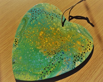 Evermore - An Original Acrylic Pour Abstract Painting on Wooden Heart - 22 x 19cms - Blue, Green and Yellow
