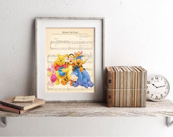 Winnie the Pooh and Friends Sheet Music Art Print
