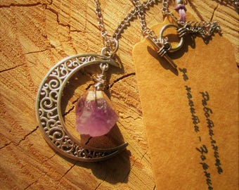 Vintage, Boho Crescent Moon Pendant with Raw Natural Amethyst