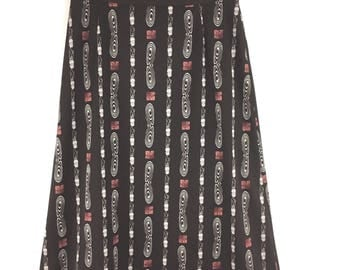 Vintage A Line Skirt Size 10 12 Brown 70s Retro Lined Knee Length Printed