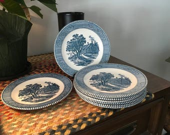 Currier and Ives Bread/desert plates