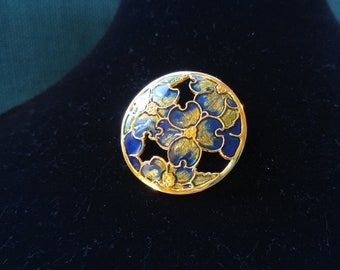 Spring! Dogwood Cloisonné Brooch - Enamel Jewelry - Guilloché Enamel - Springtime Brooches - Pretty Brooch - Vintage Pin - Easter Gifts