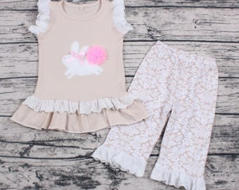 Boutique Bunny Easter Two Piece little girl Ruffle Set