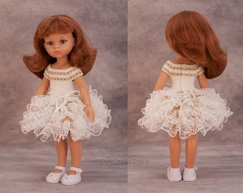 Crochet doll dress with lace for Paola Reina, Corolle les Cheries, crochet clothes for doll, 13 inch doll clothes.