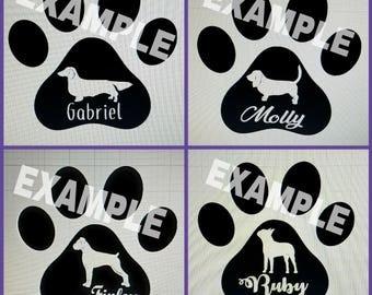 Customized Dog with Name Par Print Decal