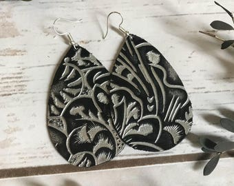 Black and Silver Tooled Leather Teardrop Leather Earrings