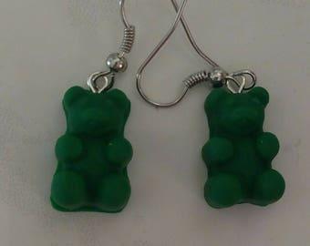 Beautiful Emerald Green Gummy Bears Earrings Polymer Clay