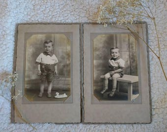 Vintage Photography. Young Boy with Toy. 2 Photos in folder