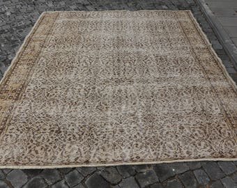 Free Shipping natural dyed large floor turkish decorative rug 7.1 x 8.5 ft. handknotted turkey rug, oushak rug, aztec flowery rug, MB367