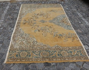 Pale color area rug, Free Shipping handknotted area rug, 4.9 x 9 ft. rustic rug, anatolian decorative rug, oushak rug, rustic rug, MB458