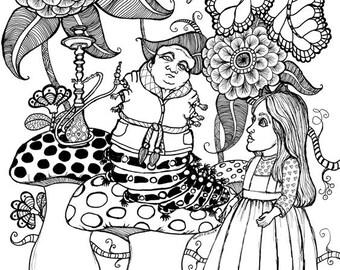 Digital Download, Alice in Wonderland, Alice Meets the Caterpillar illustration by Sande Jones-Elkins ready to color or frame