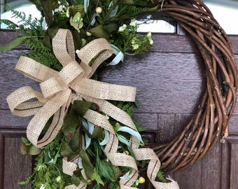 "15"" spring greenery wreath with burlap bow, front door"