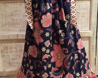 "Pillowcase dress: Navy blue and pink floral ""pillowcase"" style dress"
