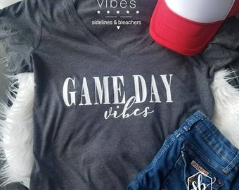 Ready to Ship | Large |Game day vibes v-neck shirt| Basketball| soccer | Baseball | lacrosse| sideline Babes | Moms shirts | Customize