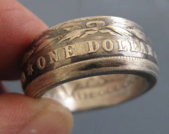 Coinring muntring made from a  Morgan dollar 1921 U S A.