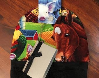 Hanging hand towel - black towel - horse