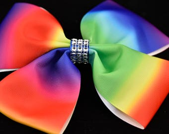 Rainbow Coloured Bow 7in / 18cm