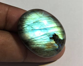 52.5 Cts 100% Natural Medagascar's Labradorite Cabochon Green Flash Fire Polished Cabochon Healing Quartz Oval Shape 33x26x8 mm N#691-5