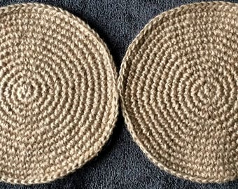 CROCHET JUTE COASTERS handmade from 3-ply natural jute twine * set of 2