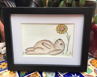 Watercolour painting Moon gazing Rabbit