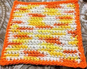 Summer Multicolored 100% Cotton Washcloth or Dishcloth with Single Orange Border