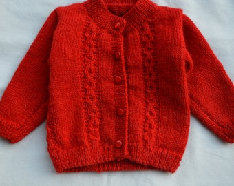 Handcrafted Baby Sweater 100% soft wool for Girls and Boys Red Colour