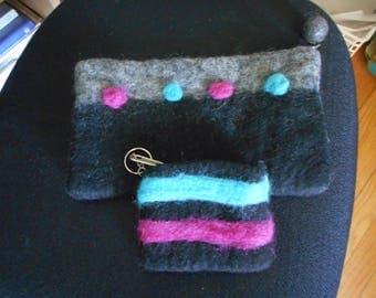 HANDMADE FELTED clutch and change purse set gray fuscia turquoise