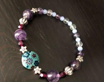 Flowers and Fluorite Bracelet